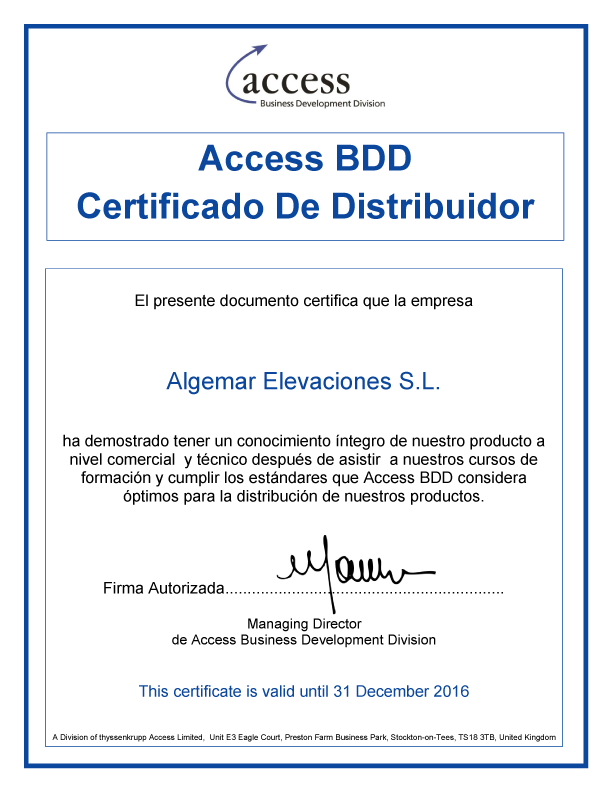 Certificado Distribuidor Autorizado Access